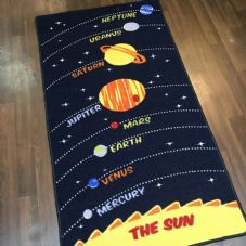SPACE MATS HOME SCHOOLS 80X150CM PLANETS BLUE/YELLOW NON SLIP WASHABLE RUGS NEW